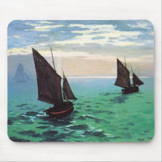 Monet Fishing Boats at Sea Mouse Pad