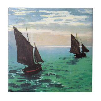 Monet Fishing Boats at Sea Tile