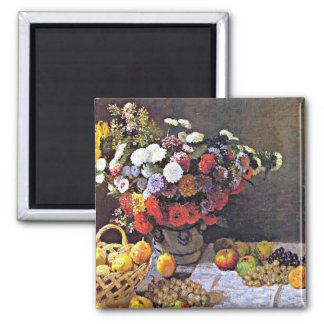 Monet - Flowers and Fruit Square Magnet