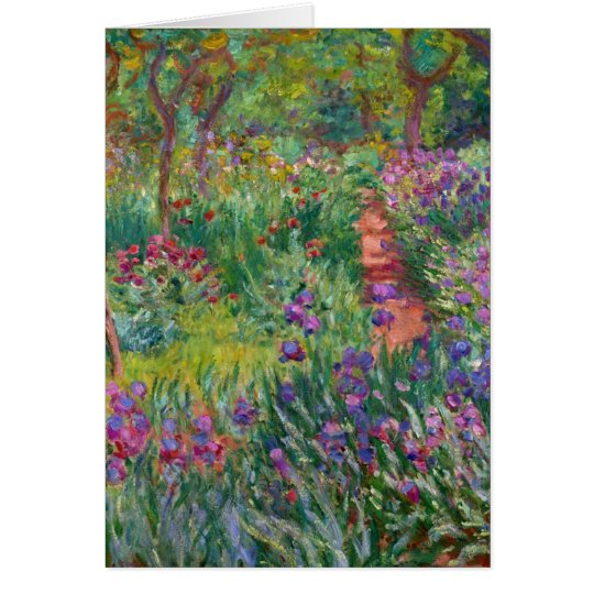 monet flowers vintage the-iris-garden-at-giverny card