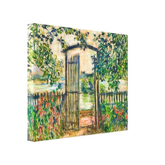 Monet Garden Gate at Vetheuil Stretched Canvas Print