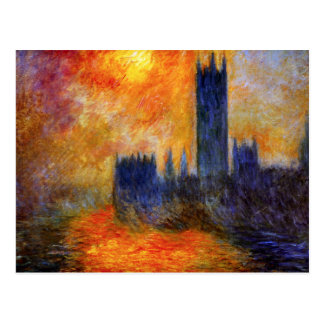 Monet House of Parliament and Sunset Postcard