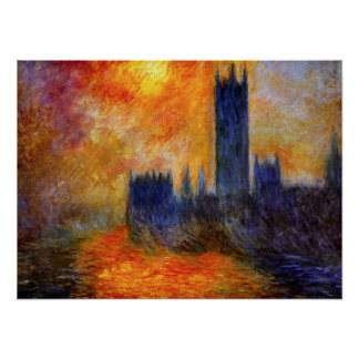 Monet House of Parliament and Sunset Poster