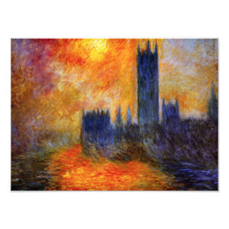 Monet House of Parliament and Sunset Print