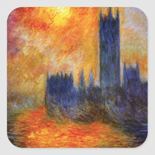 Monet House of Parliament and Sunset Stickers