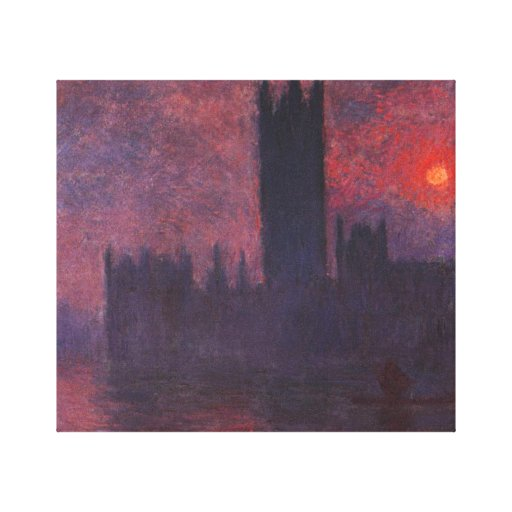 Monet Houses of Parliament at Sunset Canvas Stretched Canvas Prints