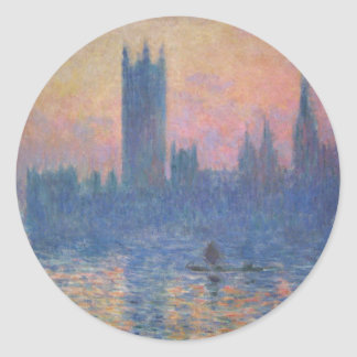 Monet - Houses of Parliament at Sunset Round Sticker