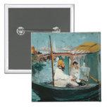 Monet in his Floating Studio, 1874 15 Cm Square Badge