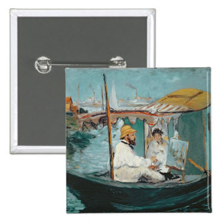 Monet in his Floating Studio, 1874 Pinback Buttons