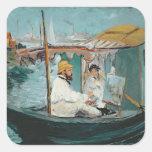 Monet in his Floating Studio, 1874 Square Sticker