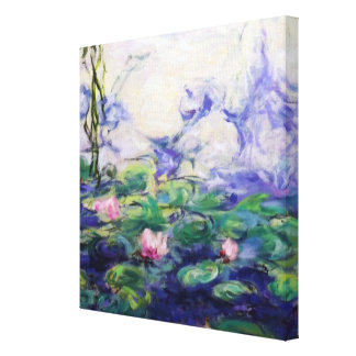 Monet Inspired Water Lilies Stretched Canvas Print