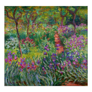 Monet Iris Garden at Giverny Poster