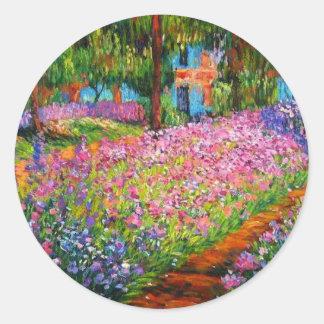 Monet Iris Garden Design with Pink Background Classic Round Sticker