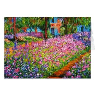 Monet Iris Garden Design with Pink Background Greeting Card