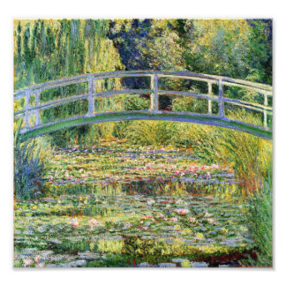 Monet Japanese Bridge with Water Lilies Print Photo