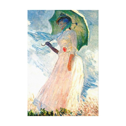 Monet Lady with Parasol Canvas Stretched Canvas Print