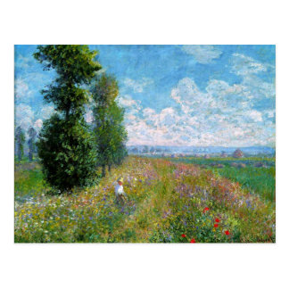 Monet - Meadow with Poplars Postcard