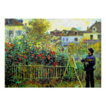 Monet Painting in his Garden at Argenteuil Poster