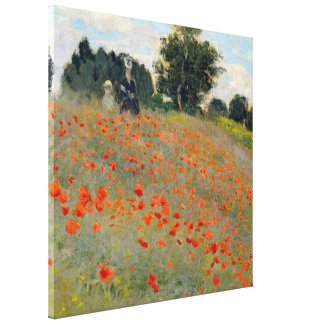 Monet Poppies 24x24 Wrapped Canvas Gallery Wrapped Canvas
