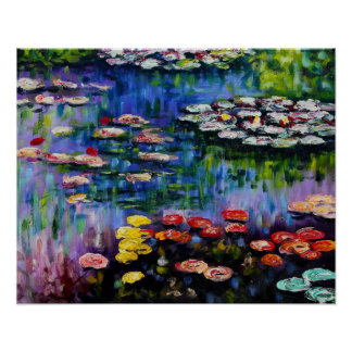 Monet Purple Water Lilies Poster