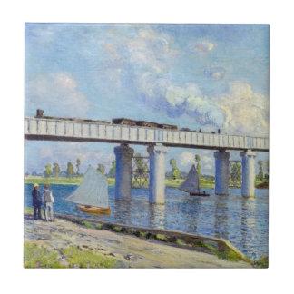 Monet: Railway Bridge at Argenteuil Small Square Tile