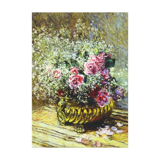 Monet Roses Gallery Wrapped Canvas