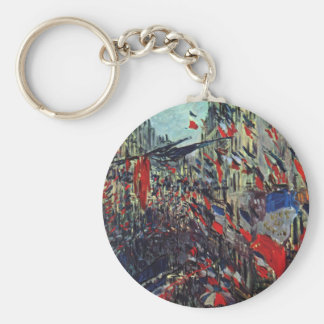 Monet - Rue Saint-Denis on the National Holiday Basic Round Button Key Ring