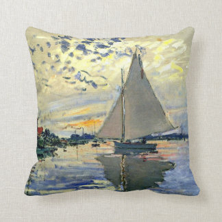 Monet - Sailboat at Le Petit-Gennevilliers Cushion