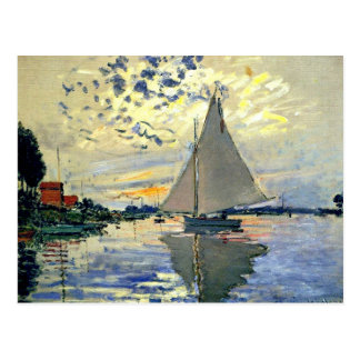 Monet - Sailboat at Le Petit-Gennevilliers Postcard