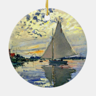 Monet - Sailboat at Le Petit-Gennevilliers Round Ceramic Decoration