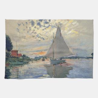 Monet Sailboat French Impressionist Tea Towel