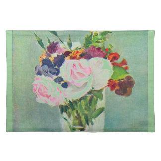 Monet Seafoam Green Pink Flowers Placemat