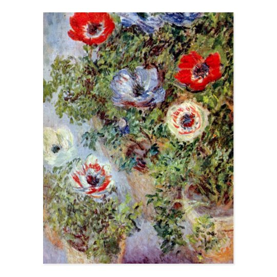 Monet Still Life Anemones flower Painting Postcard