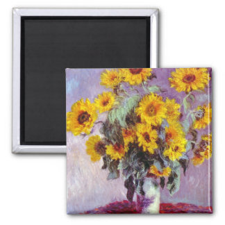 Monet Sunflowers Square Magnet
