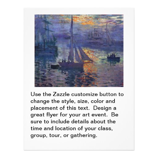 Monet sunrise at sea sailboat painting boating art personalized flyer