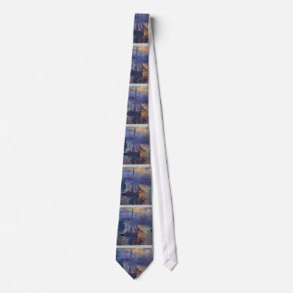 Monet sunrise at sea sailboat painting boating art tie