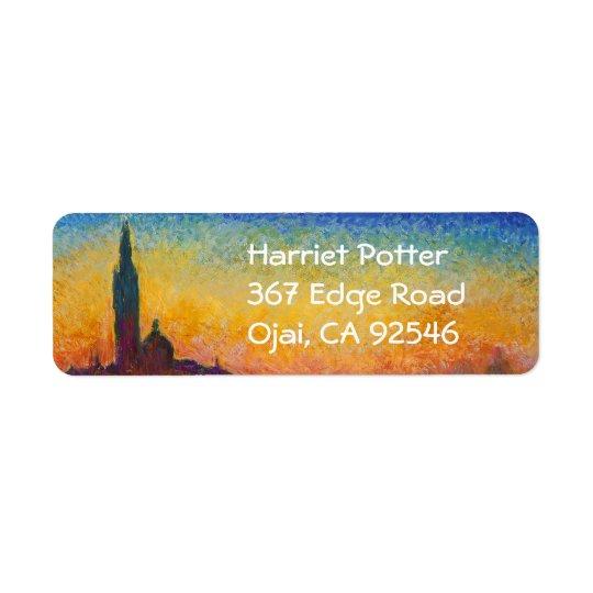Monet Sunset in Venice Fine Art Return Address Label