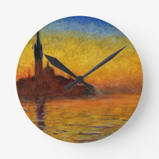 Monet Sunset in Venice Impressionist Painting Round Clock