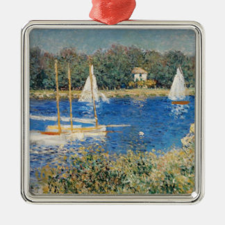 Monet - The Seine at Argenteuil Silver-Colored Square Decoration