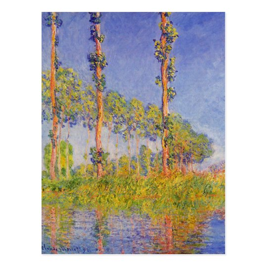 Monet Three Poplars Summer Vintage Landscape Postcard