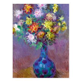 Monet Vase de Chrysanthemes Flowers Postcards
