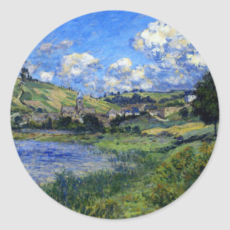 Monet - Vetheuil, Paysage Classic Round Sticker