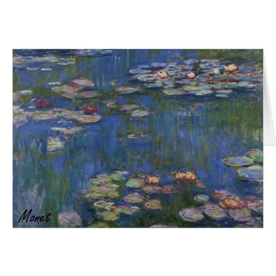 MONET Water Lilies 1916 blue tones Note Card