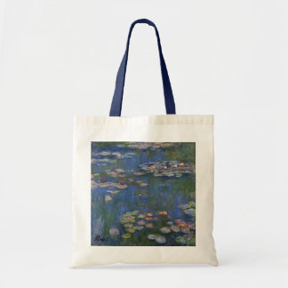 MONET Water Lilies 1916 Tote  Bag navy handles