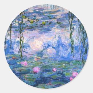 Monet - Water Lilies artwork, 1919 Round Sticker