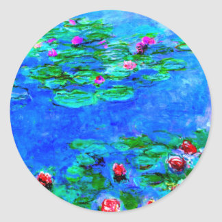 Monet: Water Lilies Red artwork Round Sticker