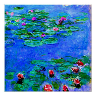 Monet: Water Lilies (red), Claude Monet painting