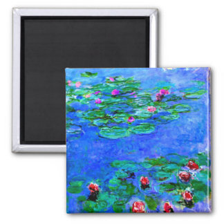 Monet - Water Lilies (red) Square Magnet