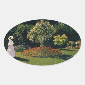 Monet: Woman in a Garden Oval Sticker