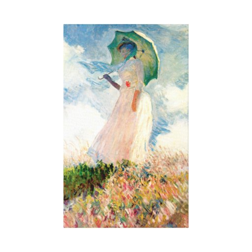 Monet Woman With A Parasol Gallery Wrapped Canvas